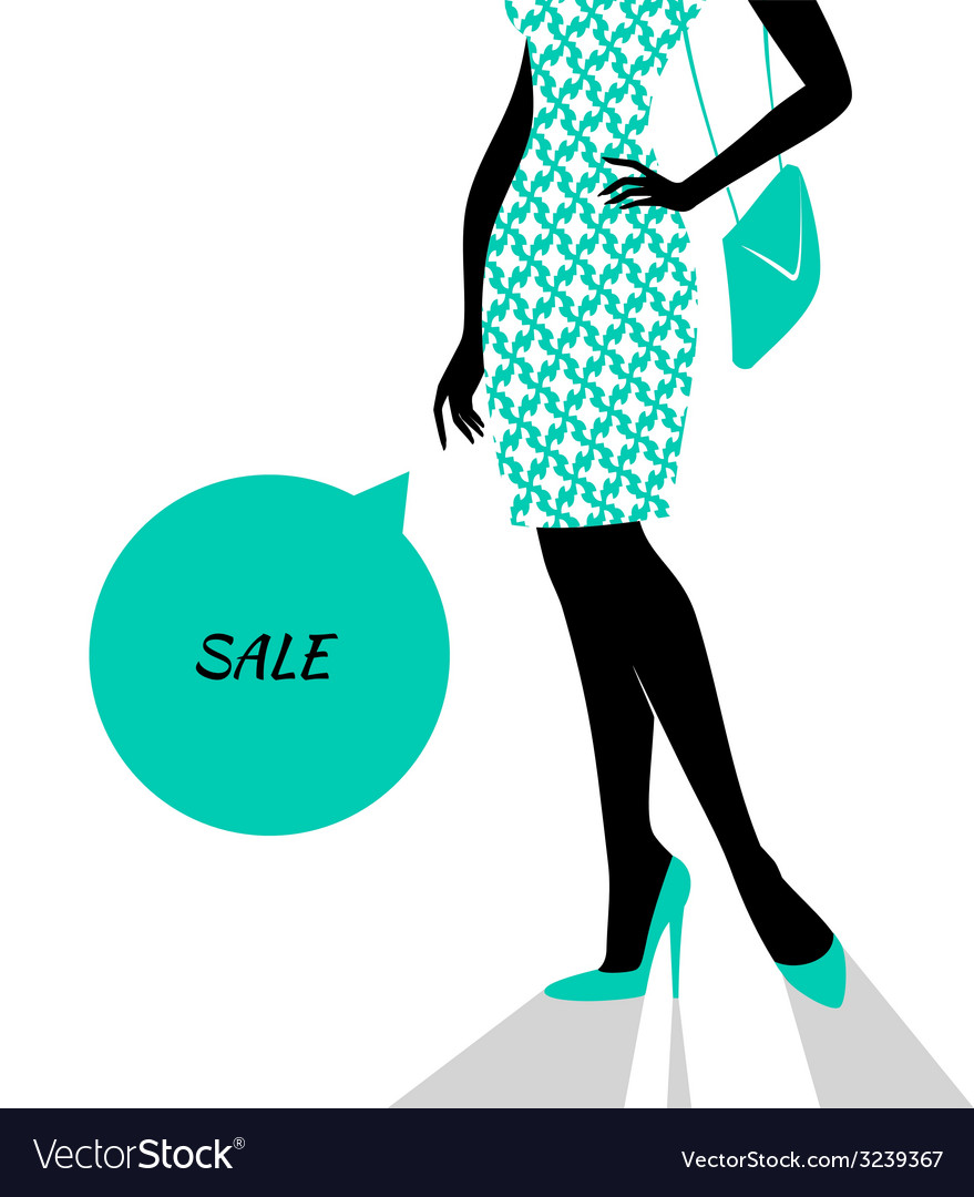 Womans silhouette image in blue vector | Price: 1 Credit (USD $1)