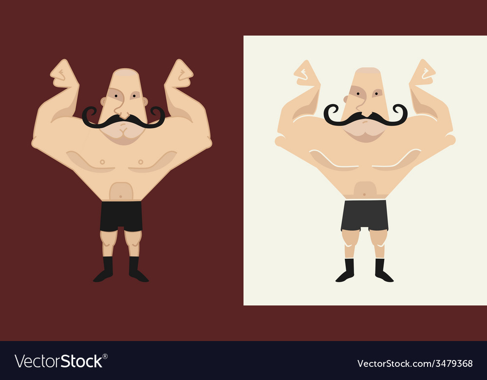 2 bald mustached athletes in 2 different styles vector | Price: 1 Credit (USD $1)