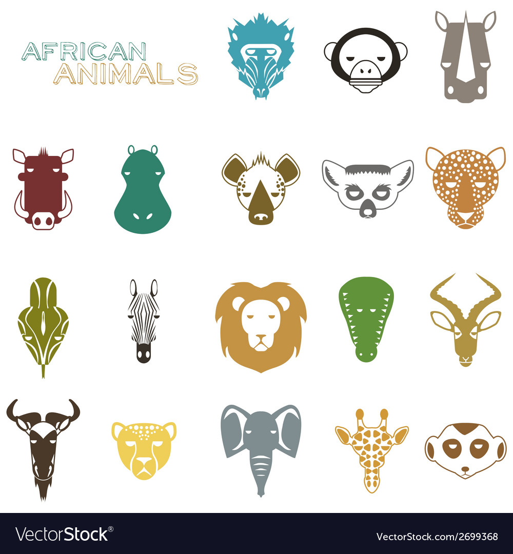 African animals color icons vector | Price: 1 Credit (USD $1)