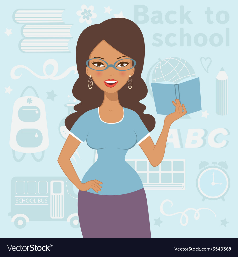 An of beautiful teacher at school vector | Price: 1 Credit (USD $1)