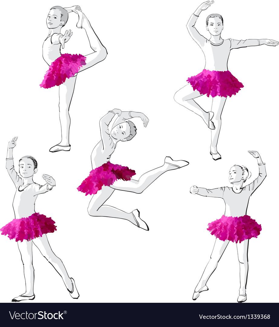 Ballerinas little girls dancing children vector | Price: 3 Credit (USD $3)