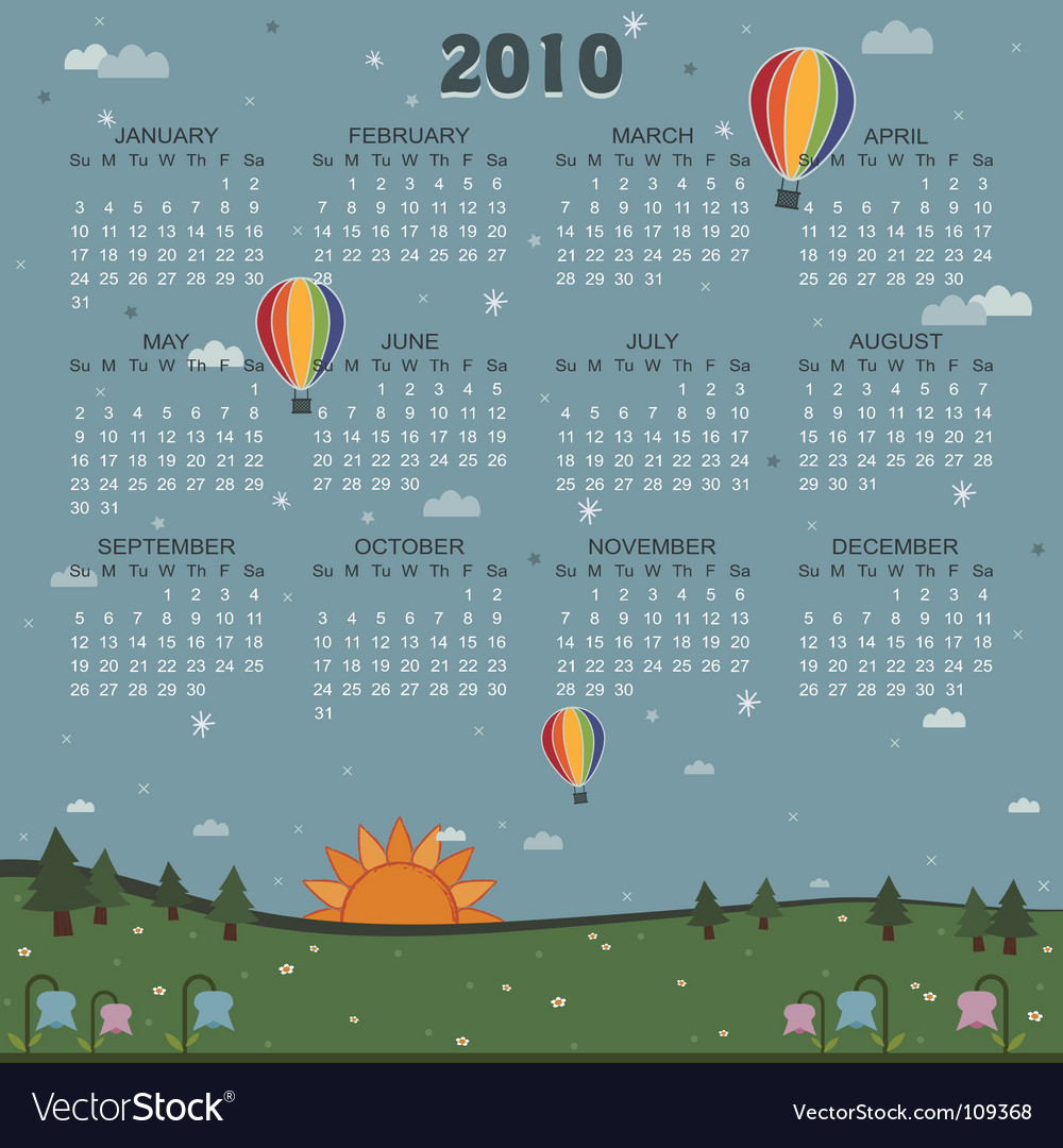 Calender for 2010 vector | Price: 1 Credit (USD $1)