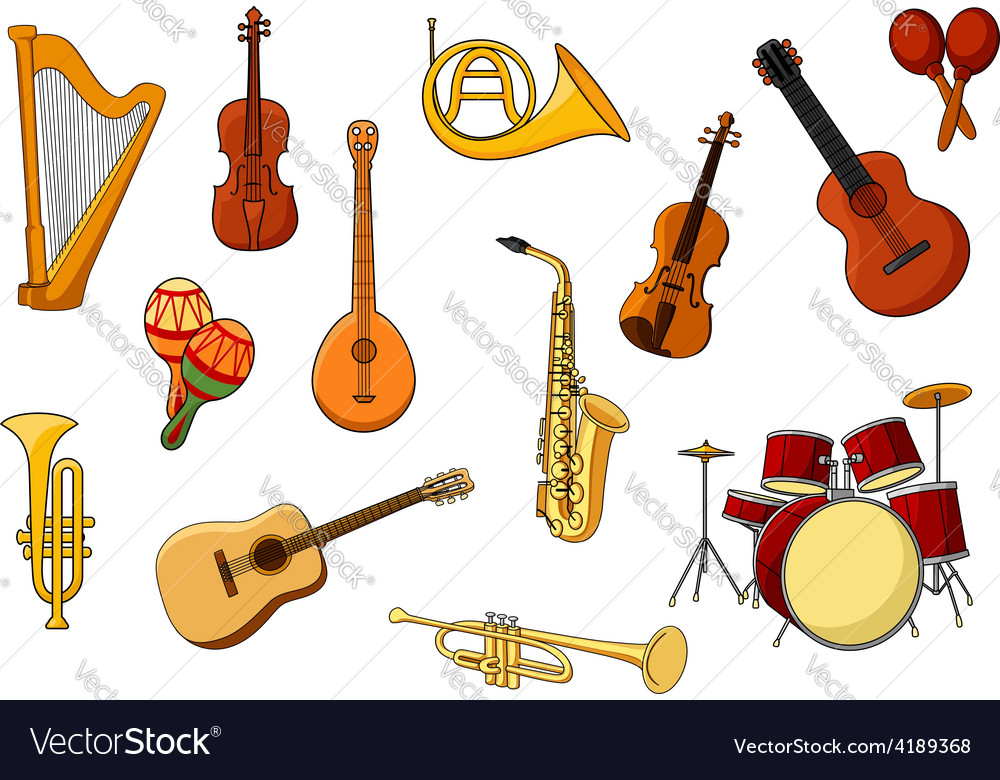 Cartoon set of colored musical instrument icons vector | Price: 1 Credit (USD $1)