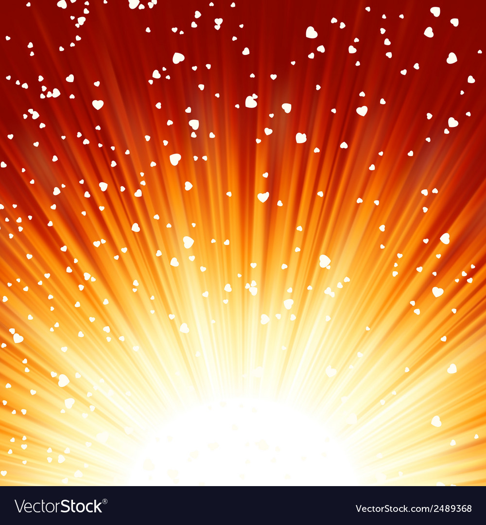 Little hearts floating on rays of light eps 8 vector | Price: 1 Credit (USD $1)