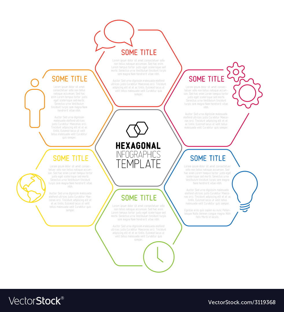 Modern hexagonal infographic report template made vector | Price: 1 Credit (USD $1)
