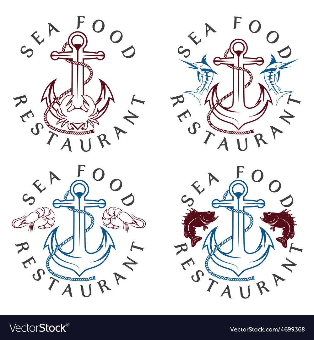 Sea food vintage labels set vector | Price: 1 Credit (USD $1)