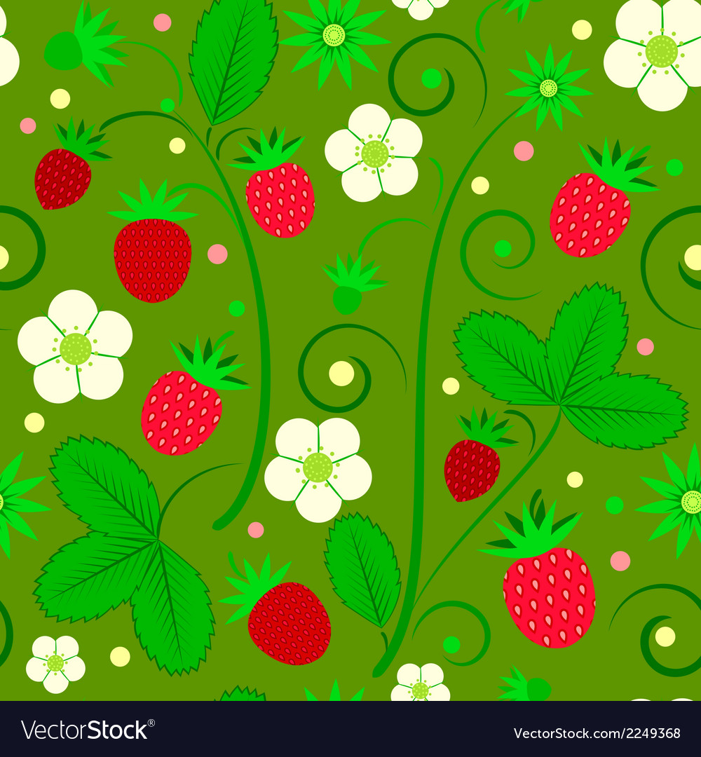 Seamless fruit pattern with strawberries vector