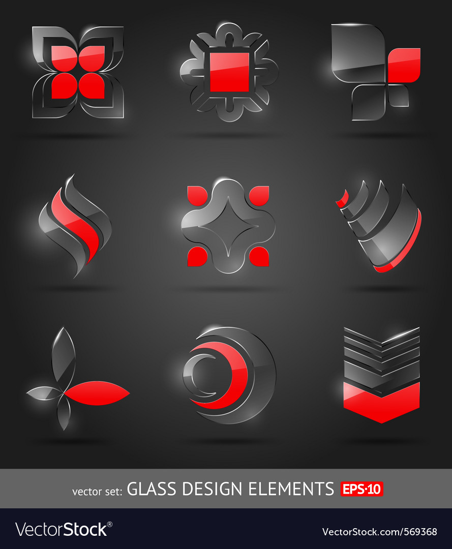 Set  abstract glass design elements vector | Price: 1 Credit (USD $1)