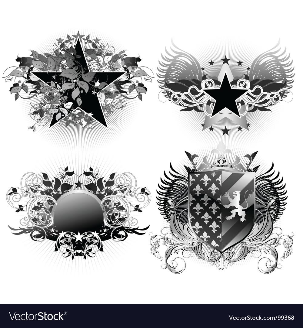 Shields decorative vector | Price: 3 Credit (USD $3)