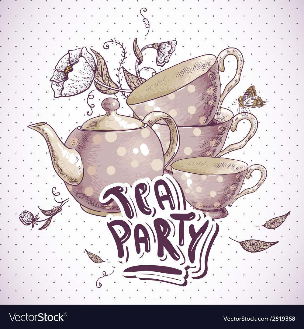 Tea party invitation card with a cups and pot vector | Price: 1 Credit (USD $1)