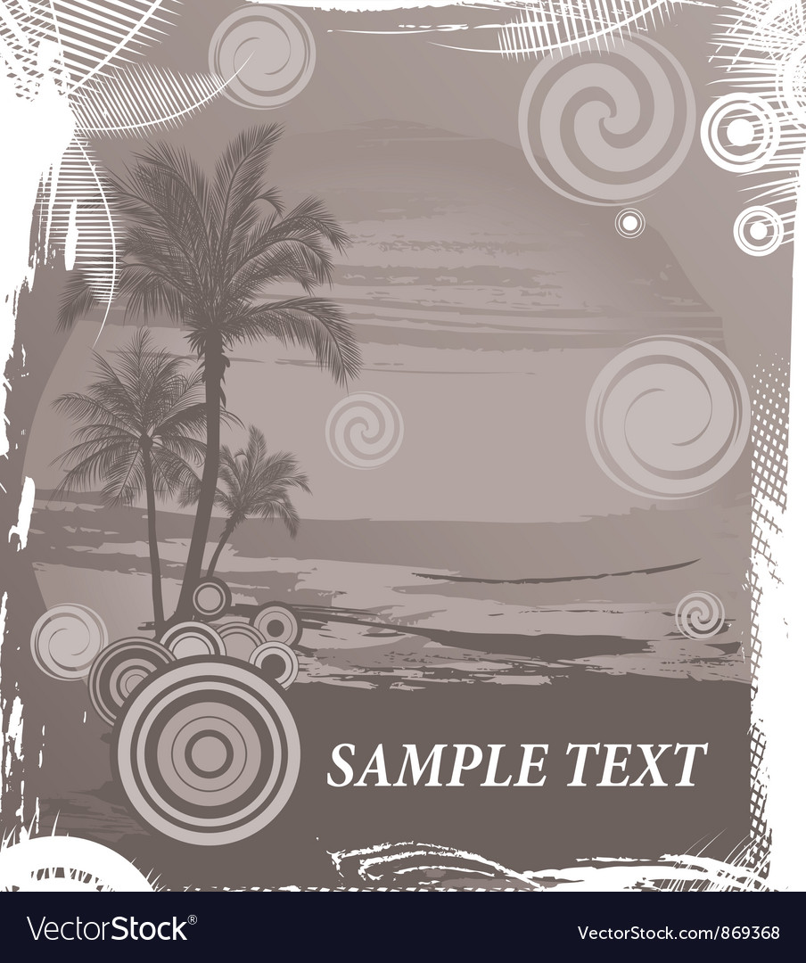 Vintage summer background with palm trees vector | Price: 1 Credit (USD $1)