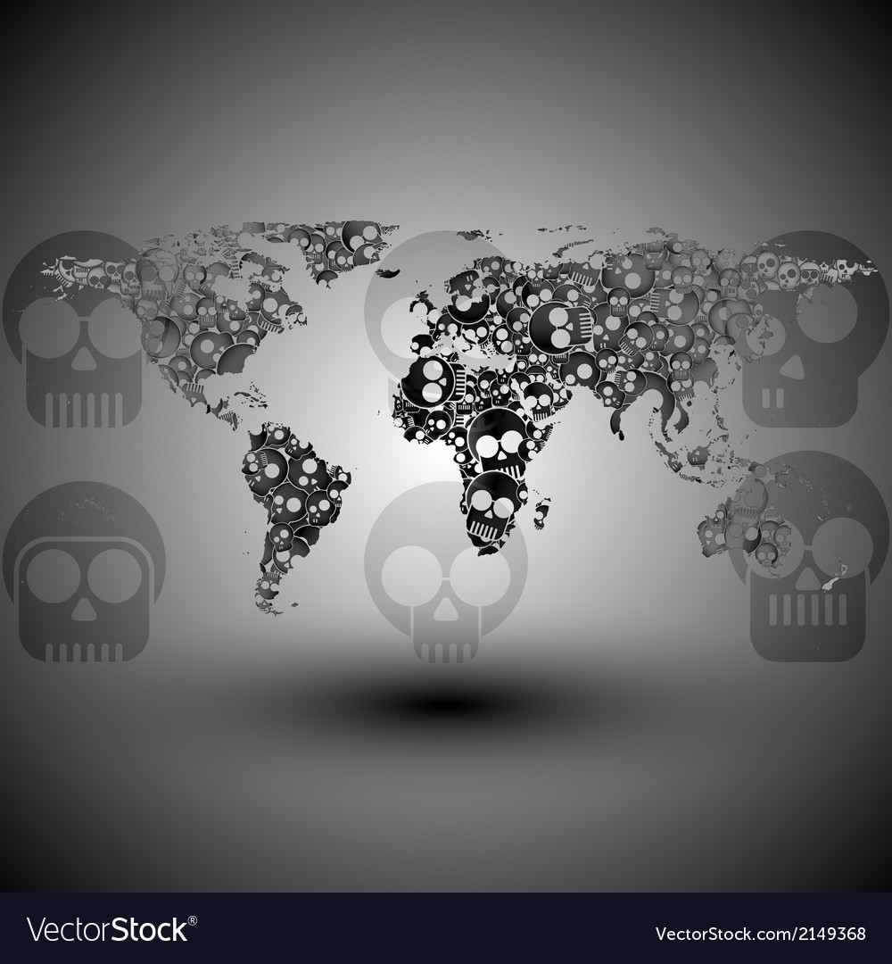 World map in the form of skulls background vector | Price: 1 Credit (USD $1)