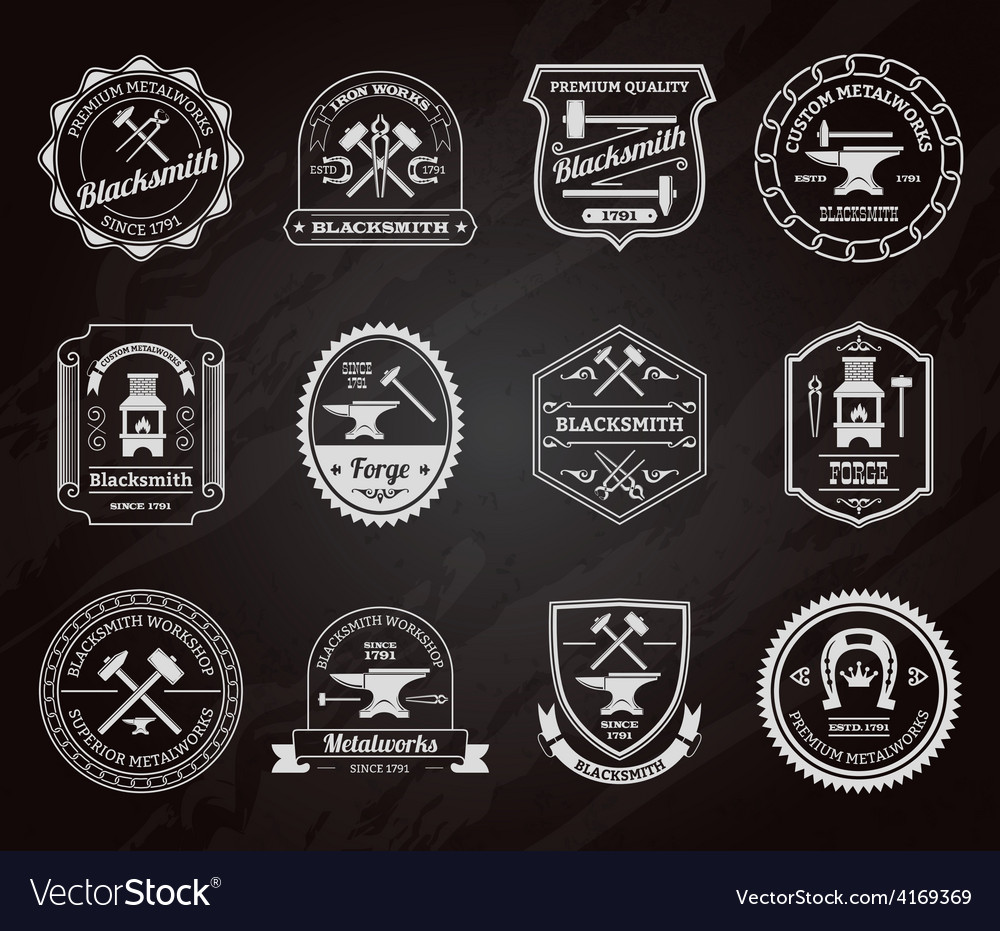 Blacksmith label chalkboard vector   Price: 1 Credit (USD $1)