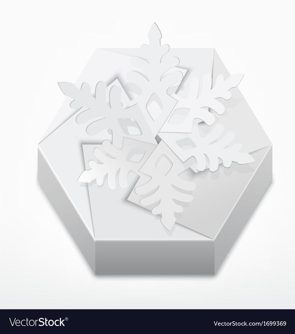 Christmas gift box with snowflake vector | Price: 1 Credit (USD $1)