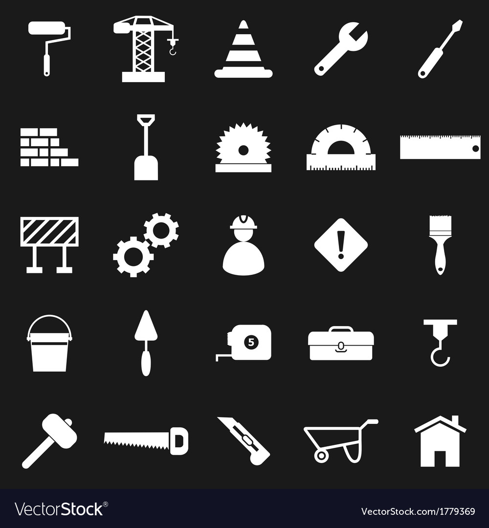 Construction icons on black background vector | Price: 1 Credit (USD $1)