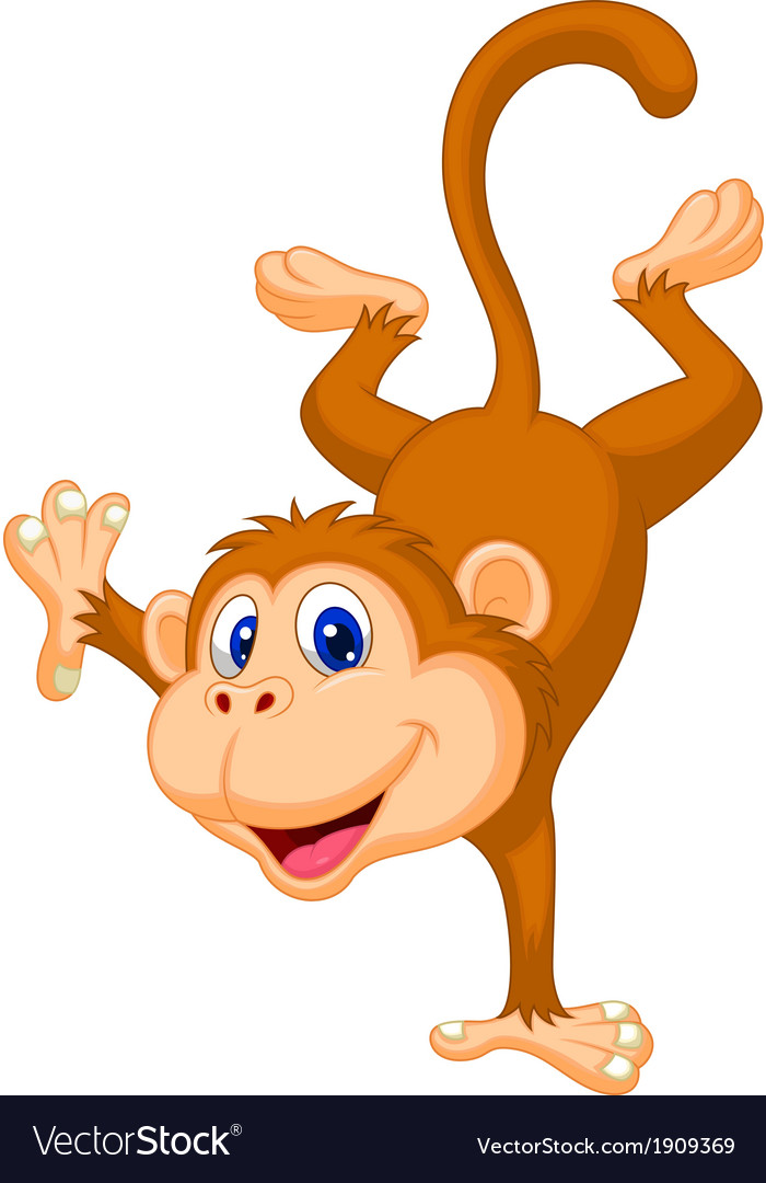 Cute monkey cartoon standing in its hand vector | Price: 1 Credit (USD $1)