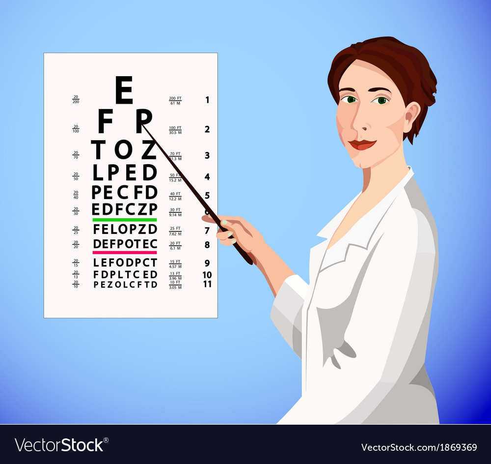 Doctor shows an eye chart vector | Price: 1 Credit (USD $1)