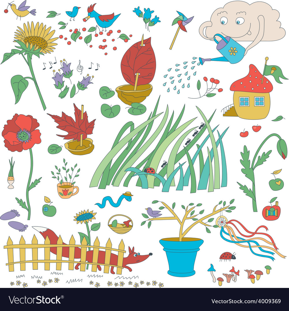 Garden flowers and decorations vector | Price: 1 Credit (USD $1)