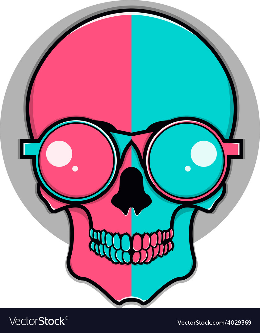 Isolated cartoon red and blue skull vector | Price: 1 Credit (USD $1)