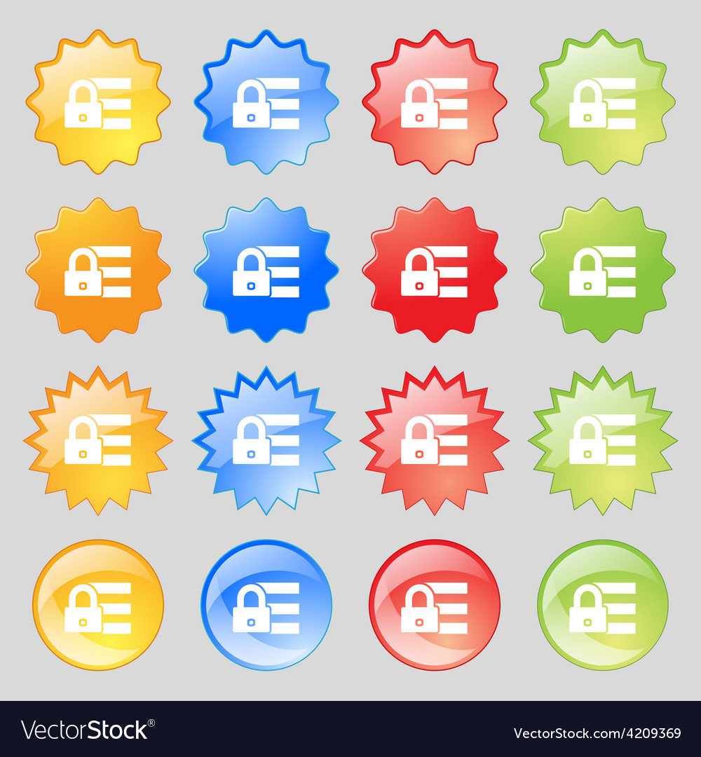 Lock login icon sign big set of 16 colorful modern vector | Price: 1 Credit (USD $1)