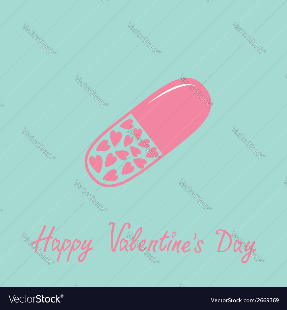 Medical pill with hearts inside love card blue vector | Price: 1 Credit (USD $1)