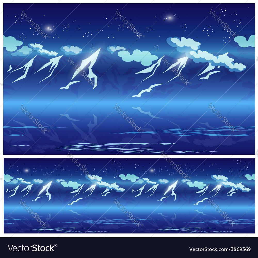 Mountains at night vector | Price: 1 Credit (USD $1)