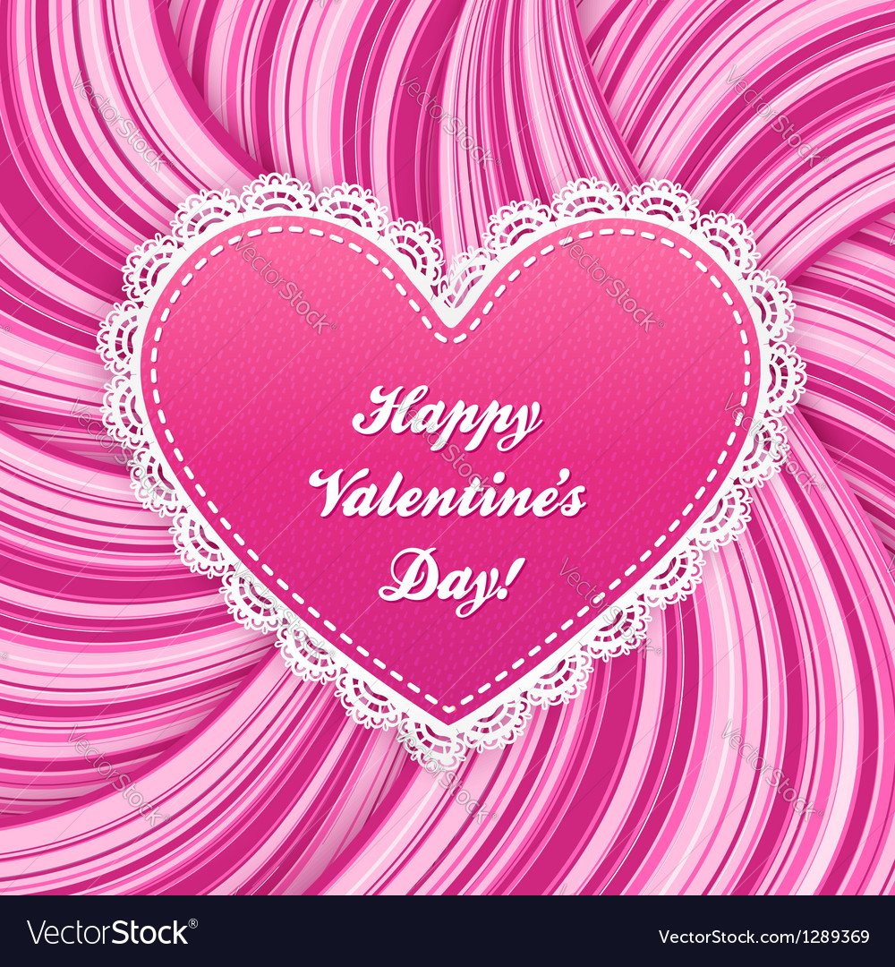 Pink lacy heart on wavy lines background vector | Price: 1 Credit (USD $1)