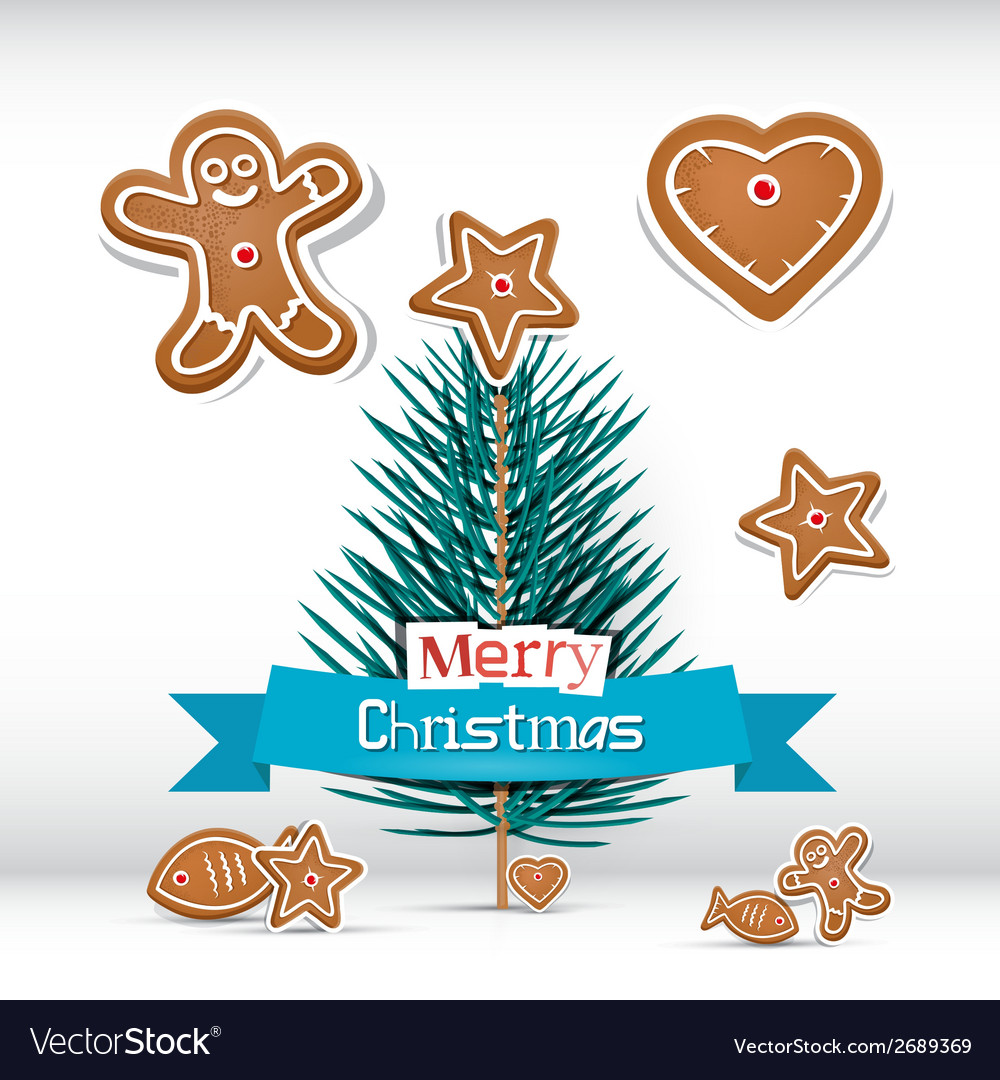 Retro christmas card with branch - tree vector | Price: 1 Credit (USD $1)