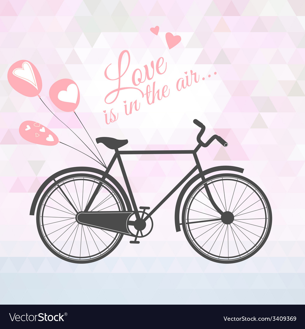 Romantic bicycle with balloons vector | Price: 1 Credit (USD $1)