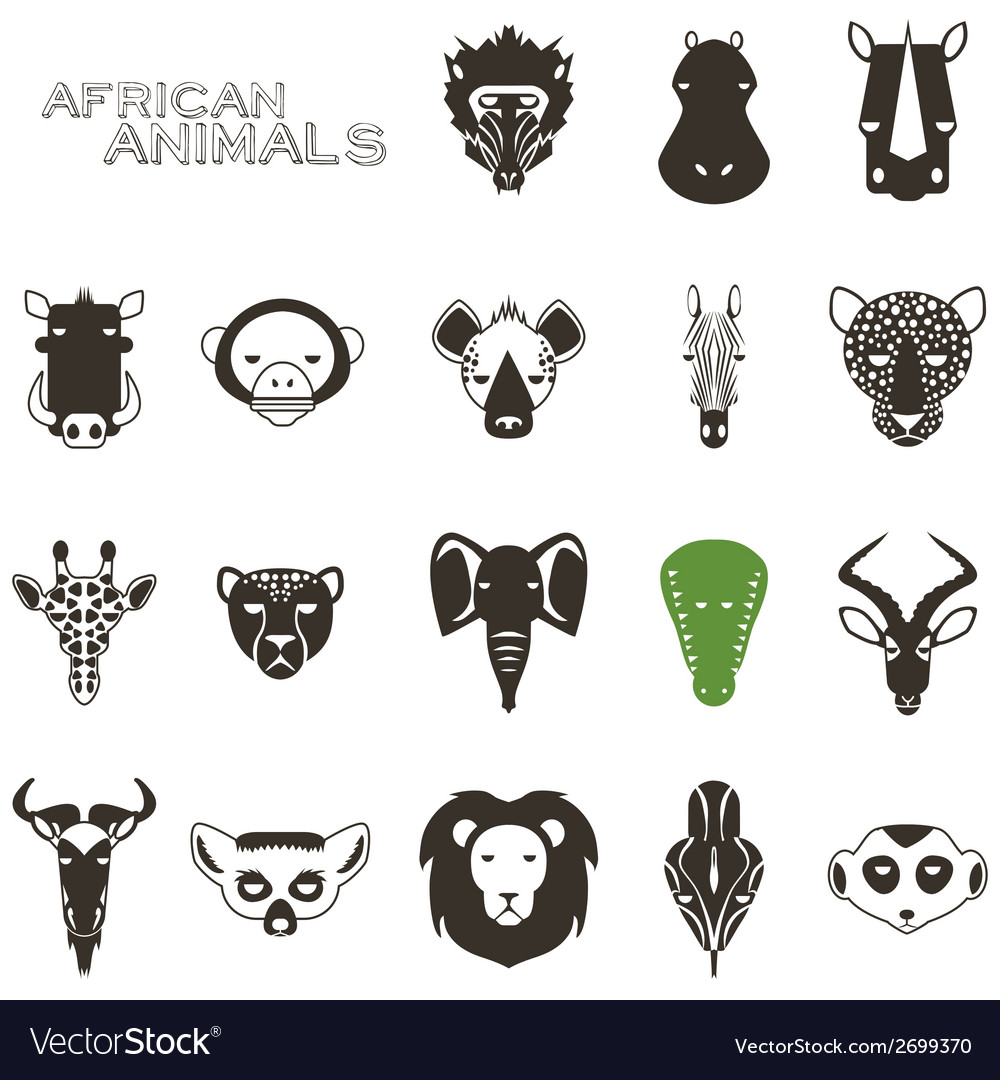 African animal black icons vector | Price: 1 Credit (USD $1)