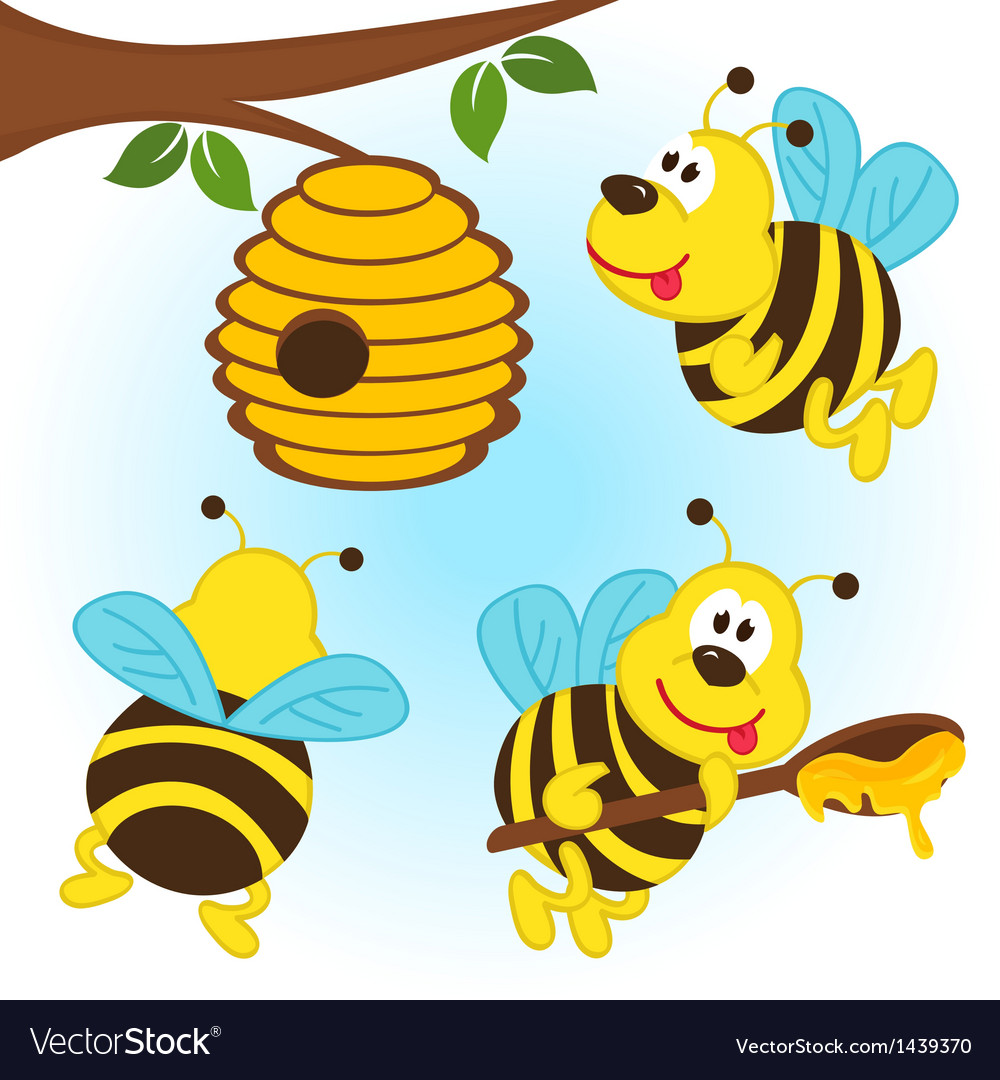 Bees around a hive vector | Price: 3 Credit (USD $3)