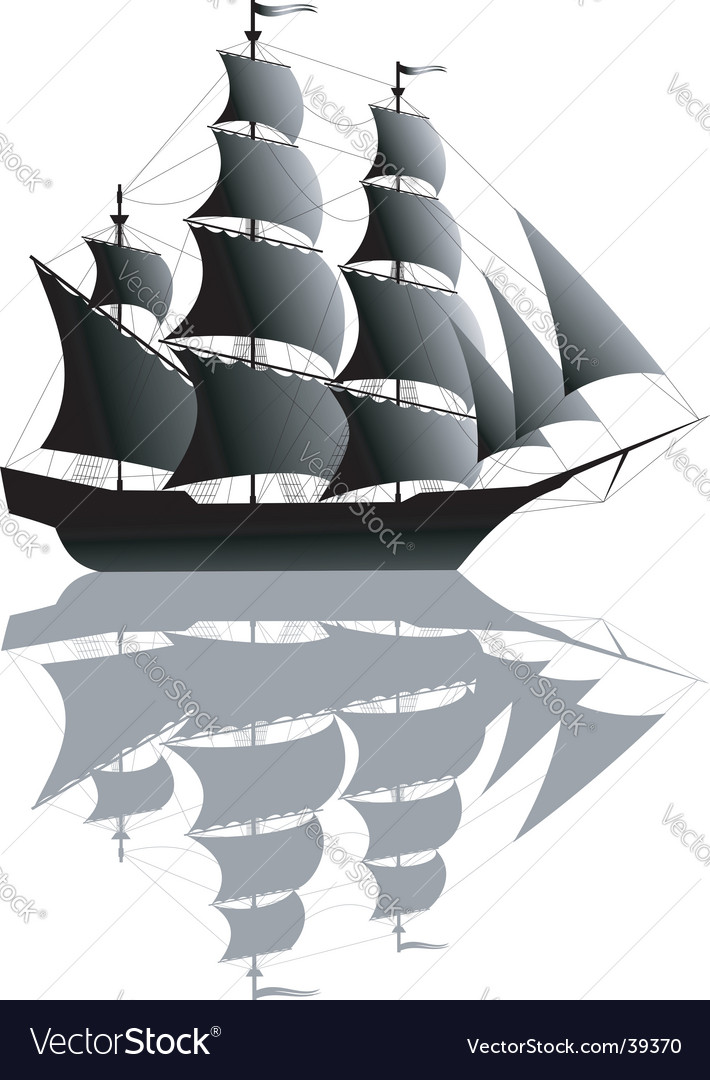 Black ship isolated on white vector | Price: 1 Credit (USD $1)