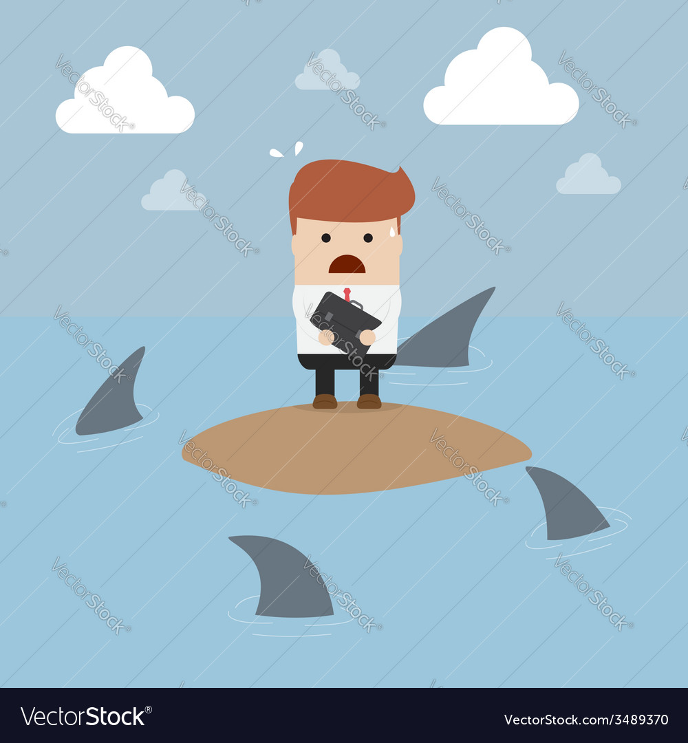 Businessman stranded in an island vector | Price: 1 Credit (USD $1)