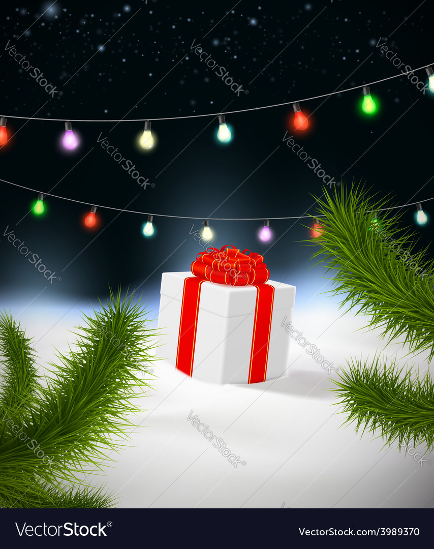 Christmas background with gift vector | Price: 1 Credit (USD $1)
