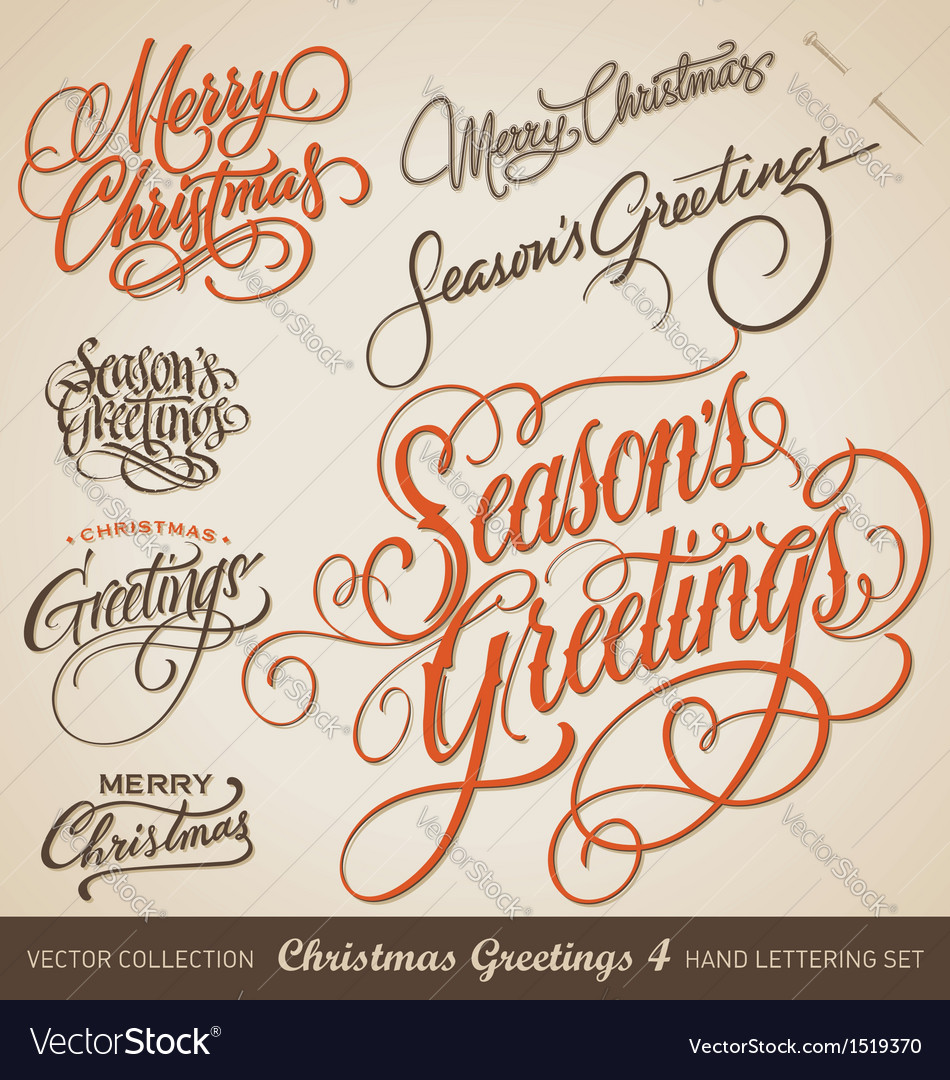 Christmas greetings hand lettering set vector | Price: 1 Credit (USD $1)