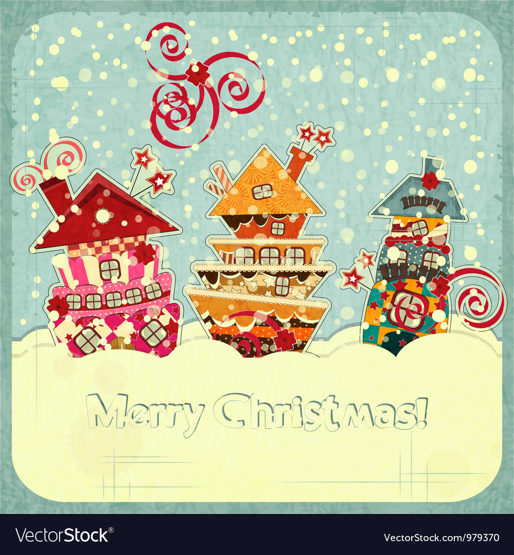 Christmas houses and snow vector | Price: 1 Credit (USD $1)