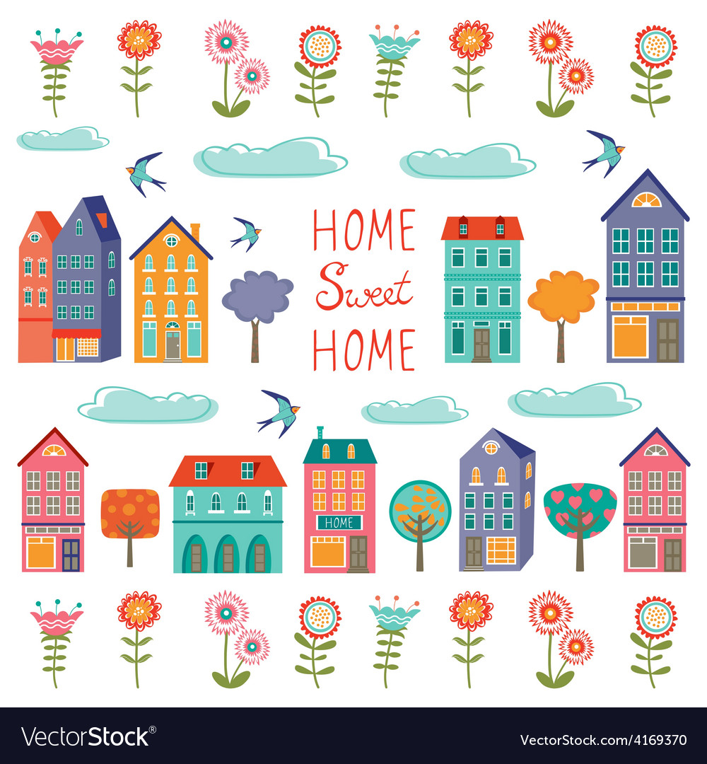 Colorful houses collection home sweet home set vector | Price: 1 Credit (USD $1)
