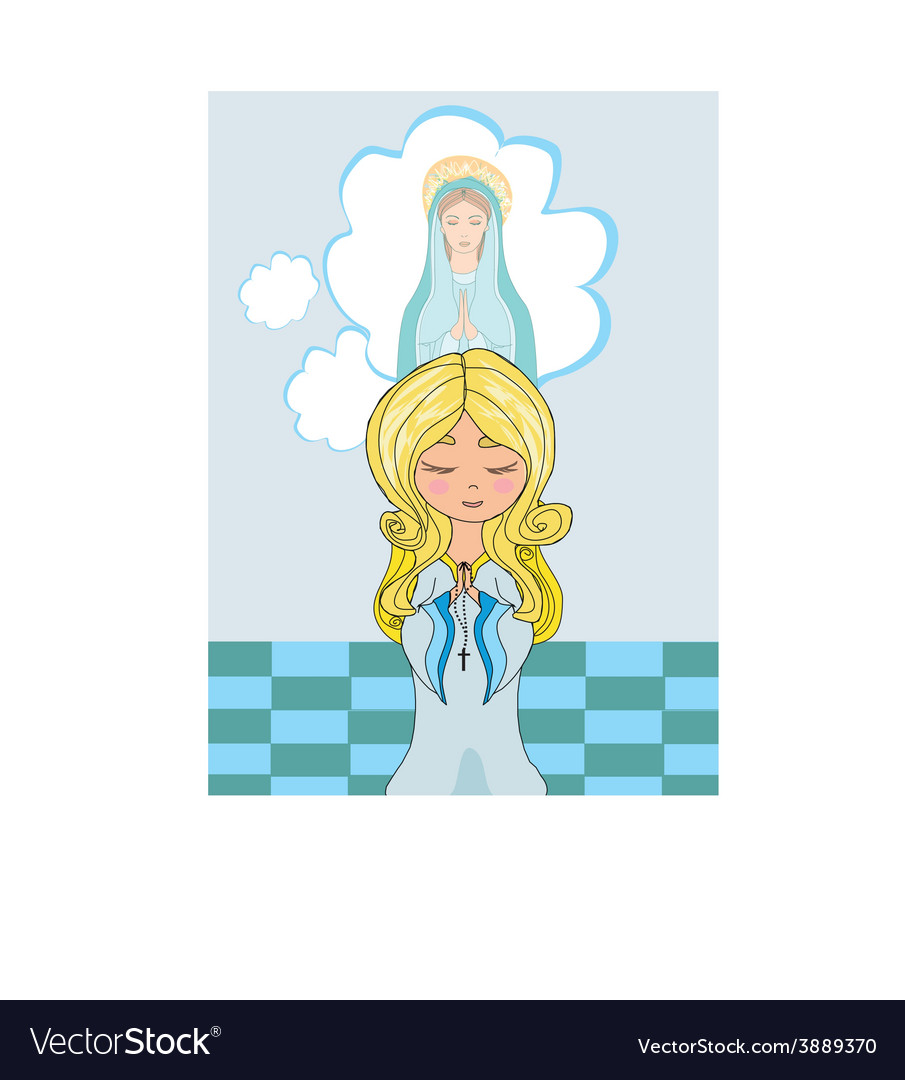 Cute little girl praying to blessed virgin mary vector | Price: 1 Credit (USD $1)