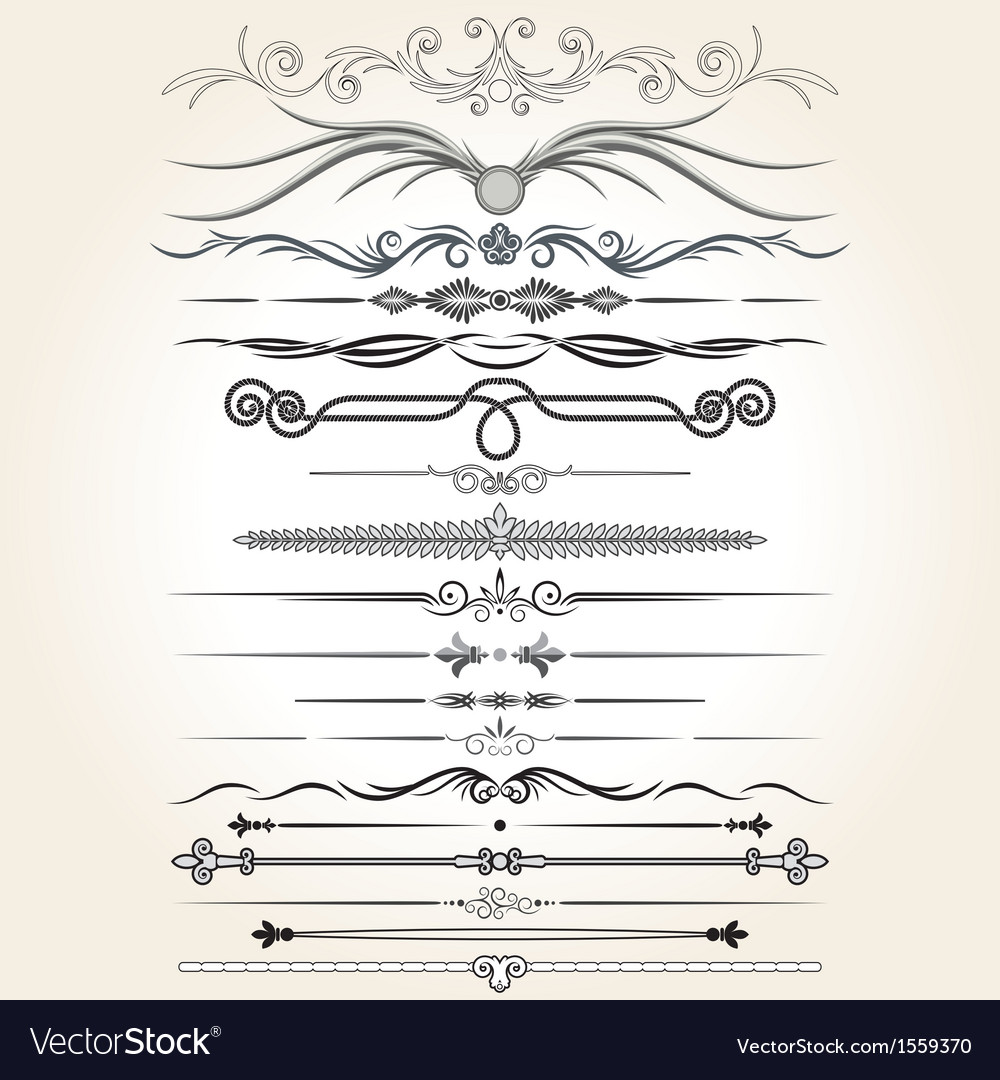 Decorative rule lines design elements vector | Price: 1 Credit (USD $1)