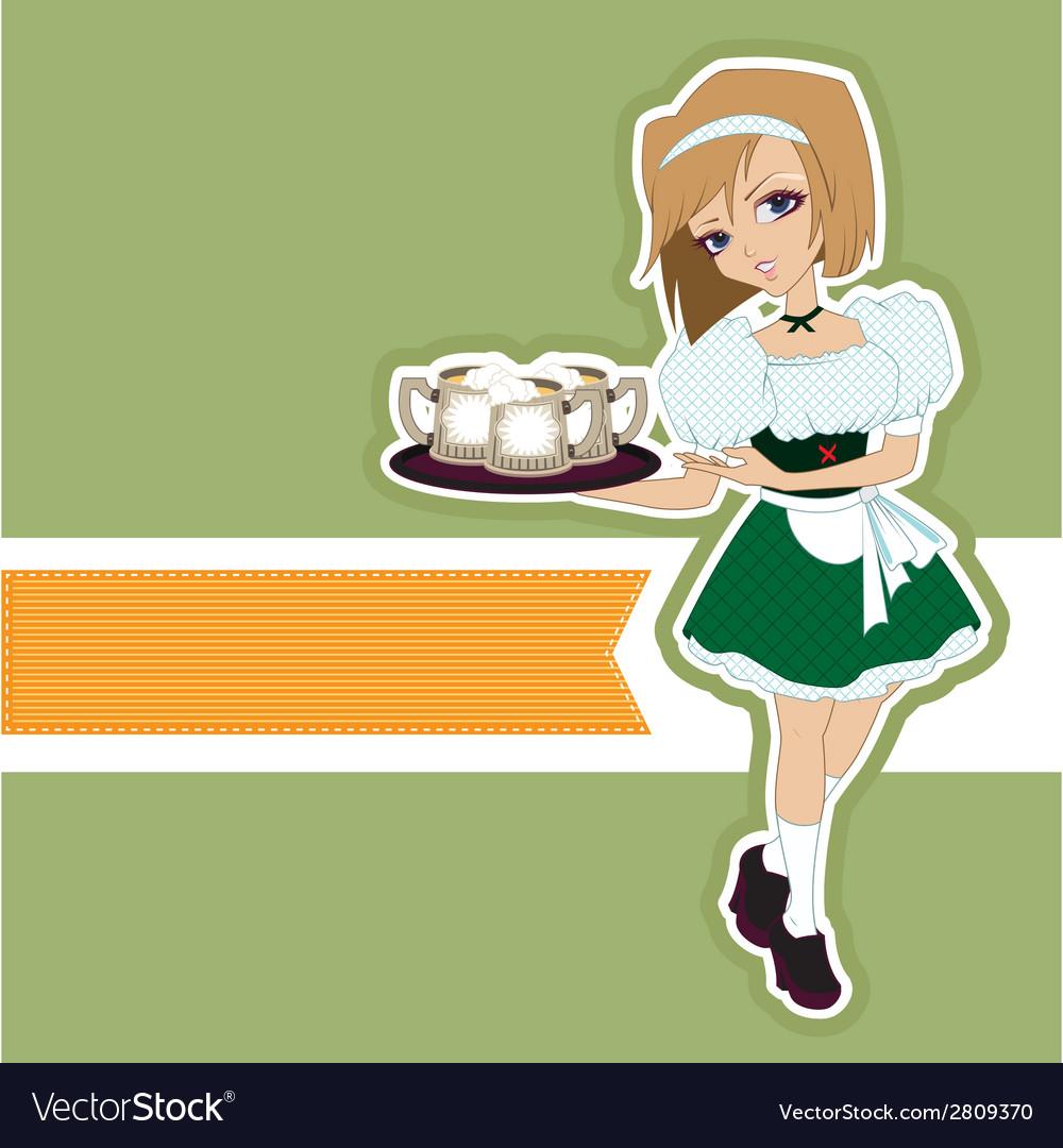 German girl waitress carries beer at oktoberfest vector | Price: 1 Credit (USD $1)