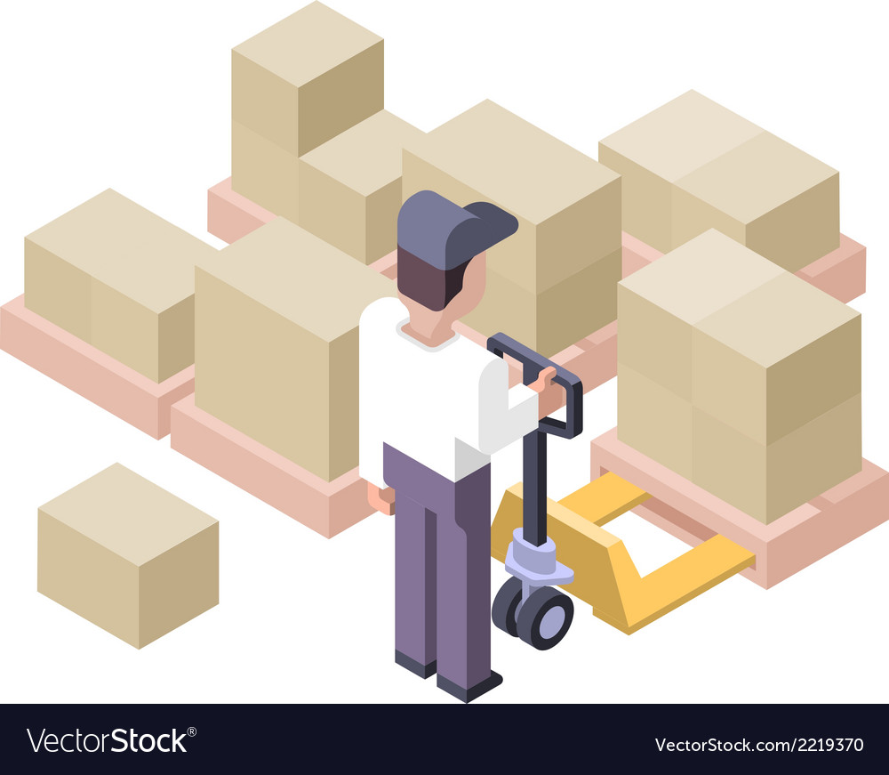 Loading and moving distribution center vector | Price: 1 Credit (USD $1)