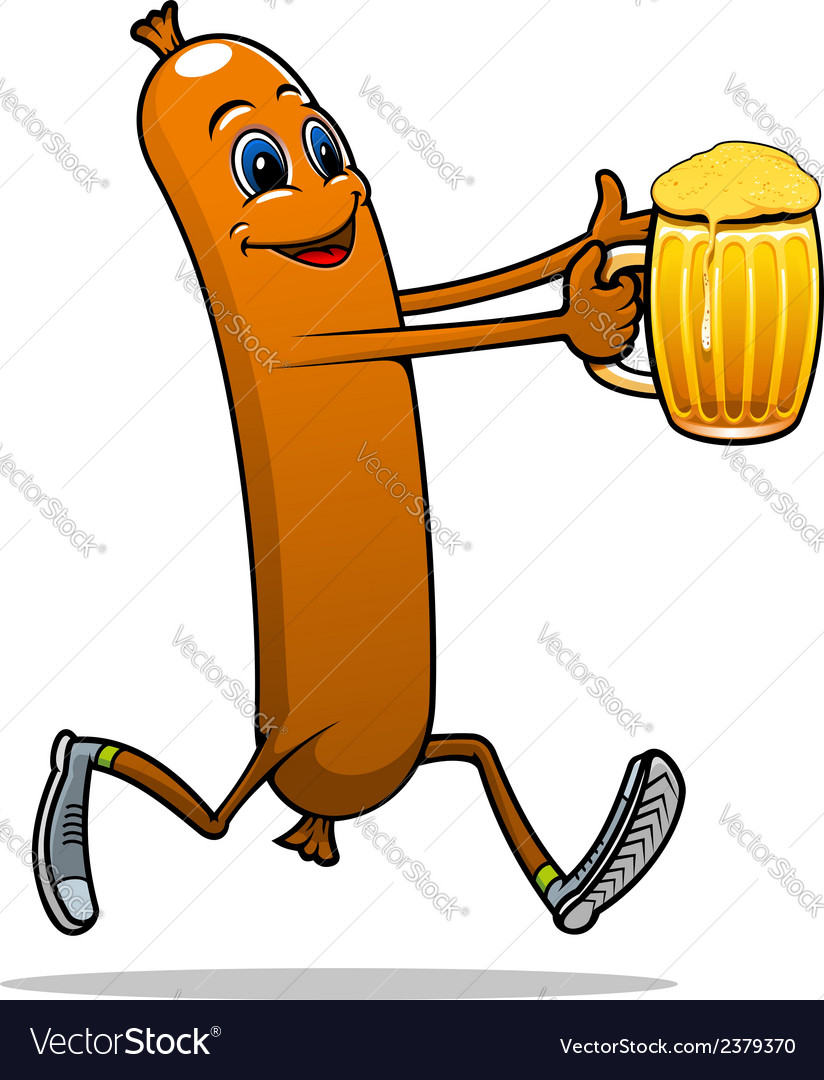 Running sausage with beer vector | Price: 1 Credit (USD $1)