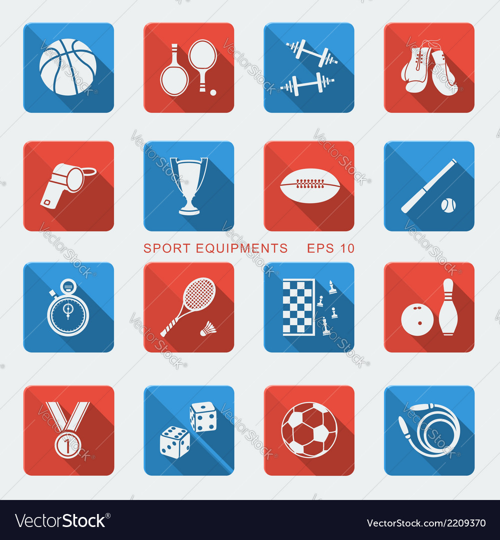 Set of sport equipments of flat design vector | Price: 1 Credit (USD $1)