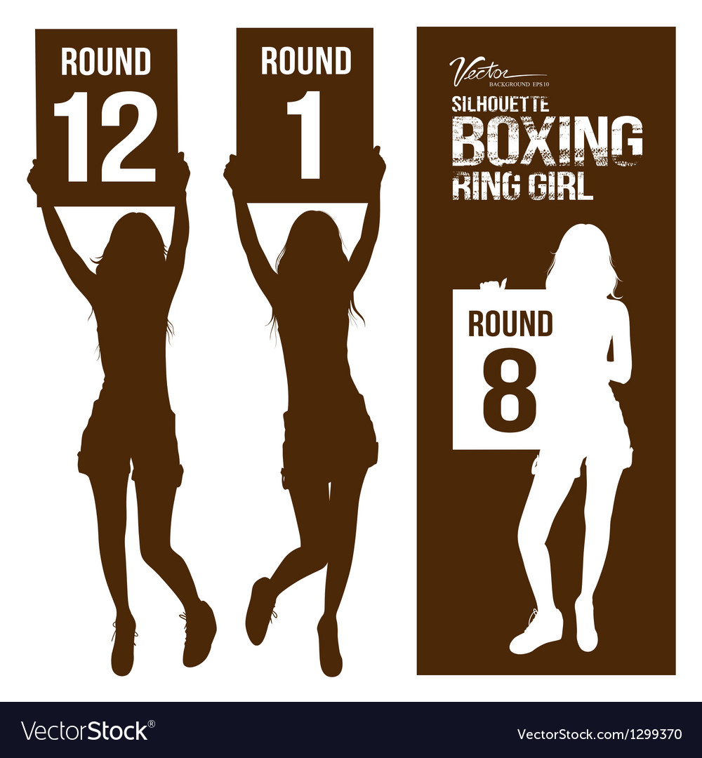 Silhouette boxing ring girl holding sign vector | Price: 1 Credit (USD $1)