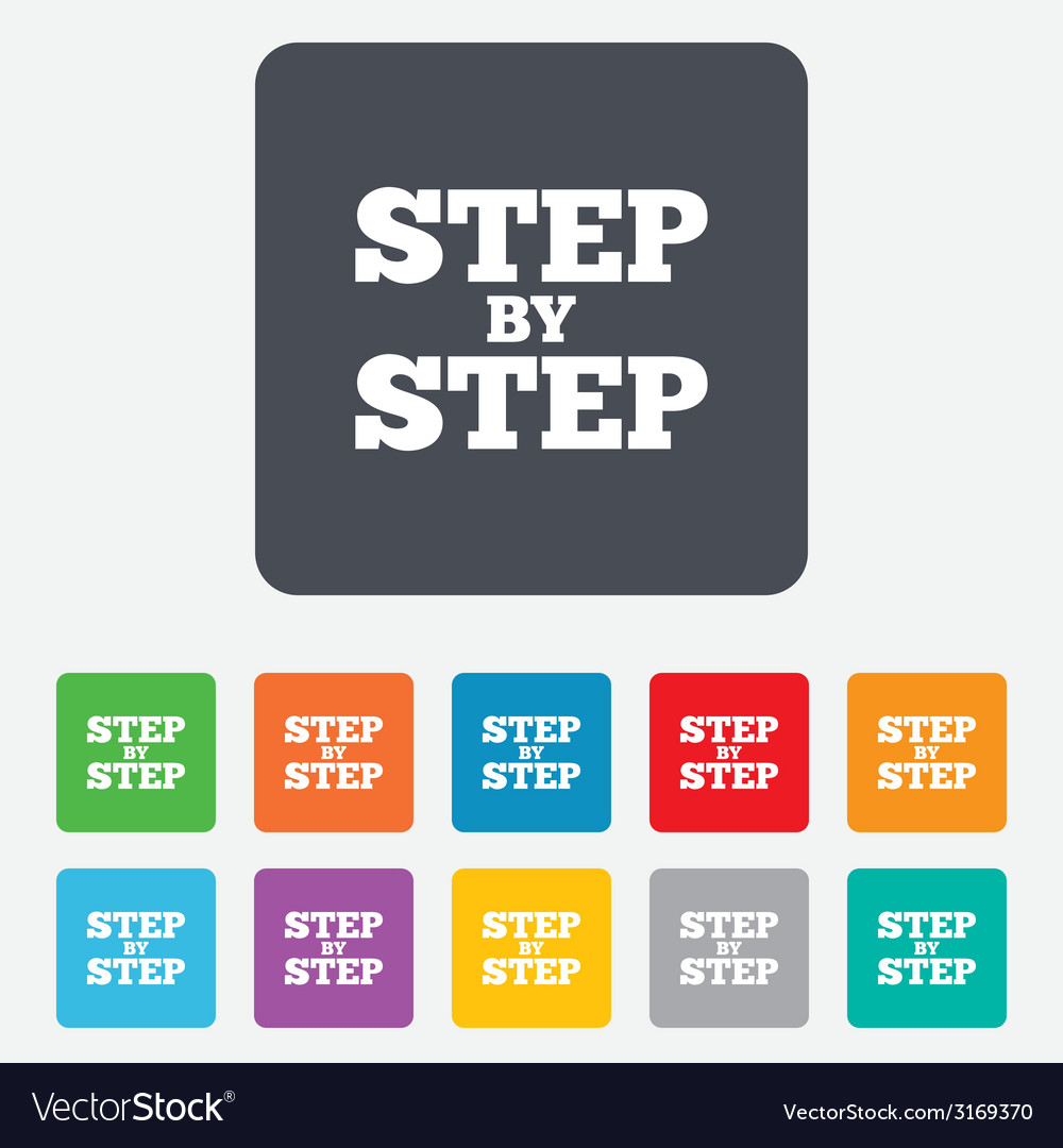 Step by step sign icon instructions symbol vector | Price: 1 Credit (USD $1)
