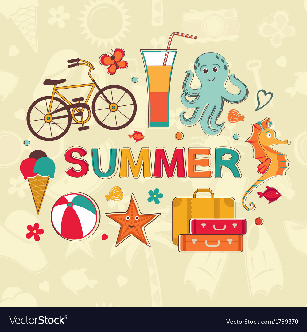 Summer cartoon set vector | Price: 1 Credit (USD $1)