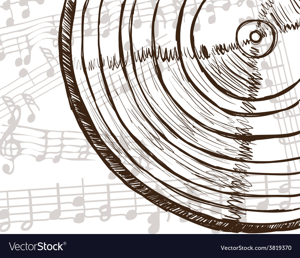 Vinyl record and music notes vector | Price: 1 Credit (USD $1)
