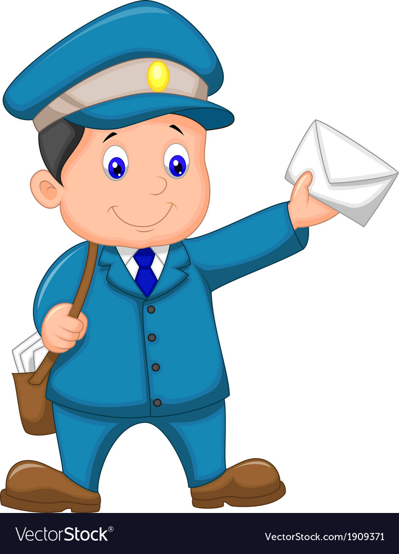 Cartoon mail carrier with bag and letter vector | Price: 1 Credit (USD $1)