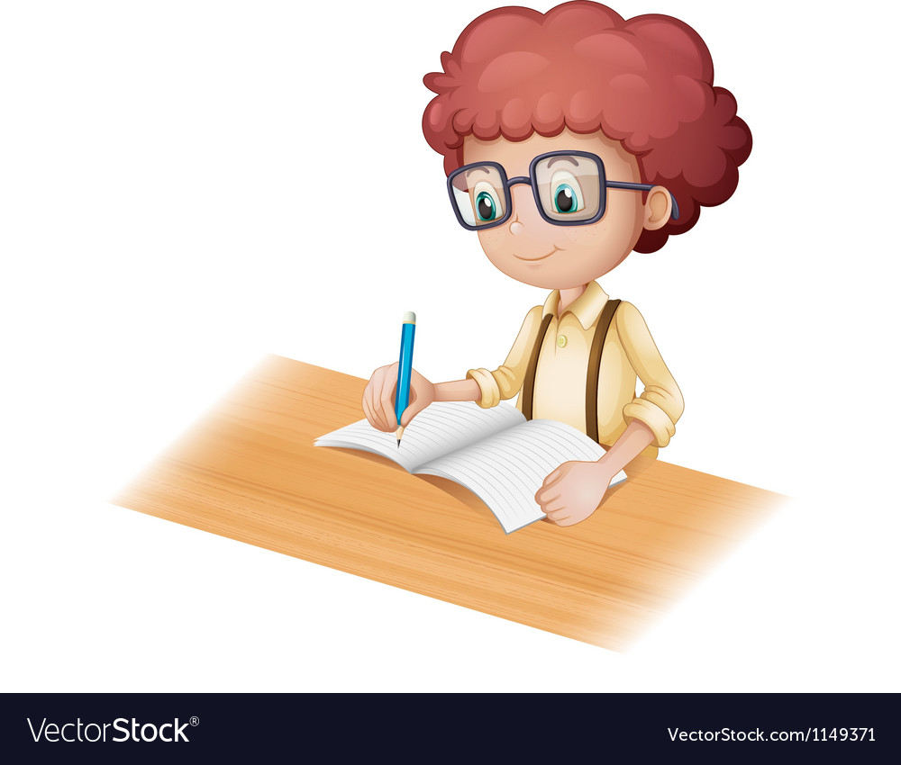 Cartoon student writing vector | Price: 1 Credit (USD $1)