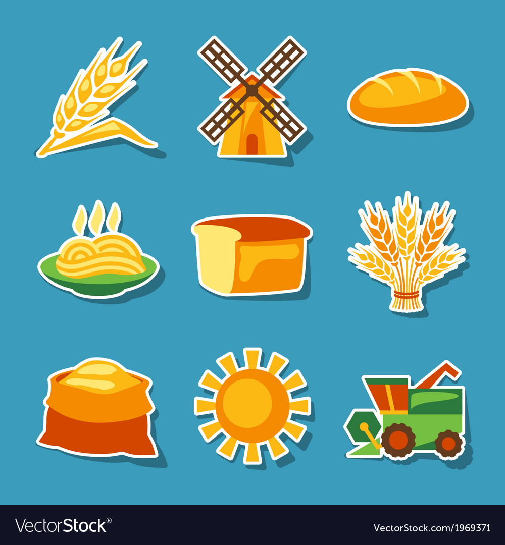 Cereal cultivation and farming sticker icon set vector | Price: 1 Credit (USD $1)